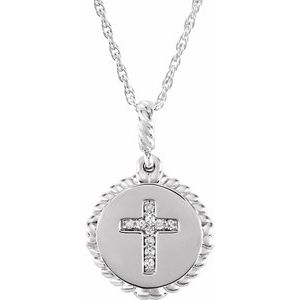 "Sterling Silver .04 CTW Diamond Cross Rope 16-18"" Necklace"