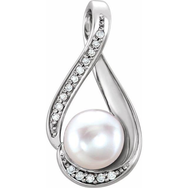 14K White Freshwater Cultured Pearl & .04 CTW Diamond Pendant