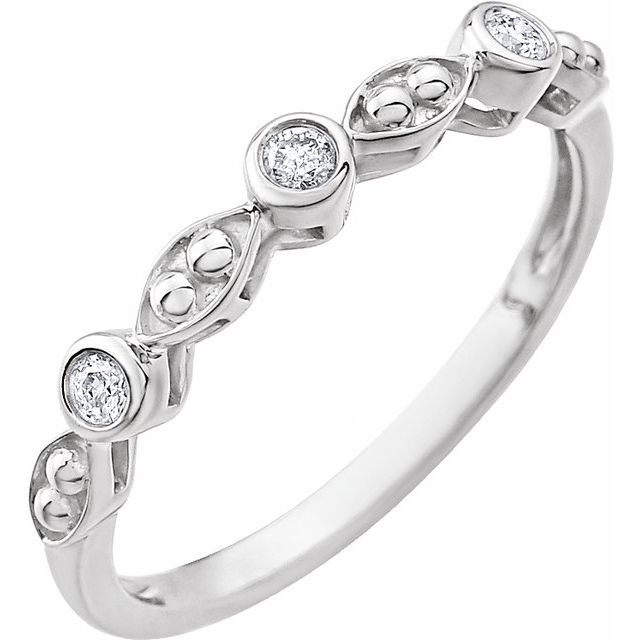 14K White .08 CTW Beaded Diamond Ring