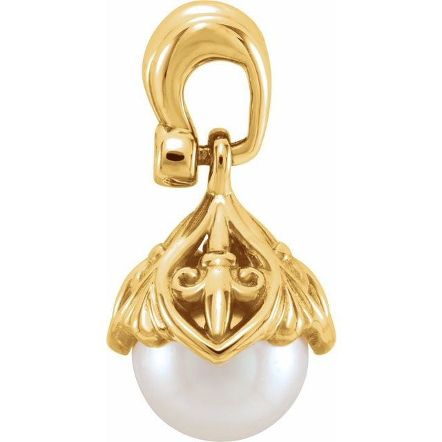 14K Yellow 7-7.5 mm Freshwater Cultured Pearl & .02 CTW Diamond Fleur-de-lis Pendant