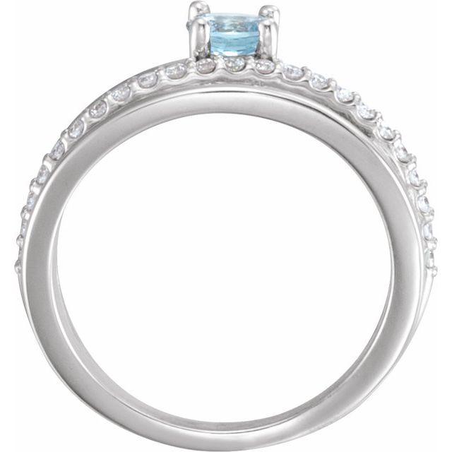 14K White Aquamarine & 1/4 CTW Diamond Ring