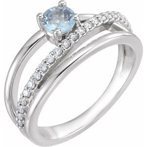 14K White Aquamarine & 1/4 CTW Diamond Ring