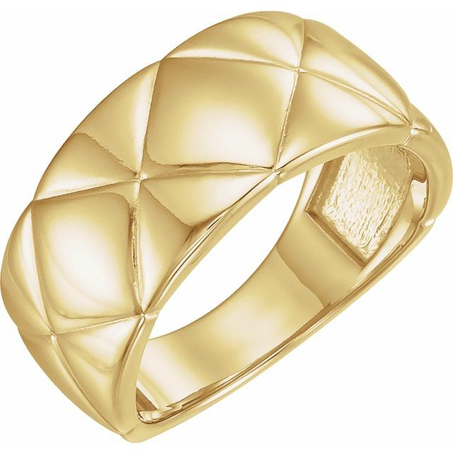 14K Yellow Quilted Ring