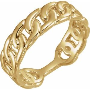 14K Yellow Interlocking Stackable Link Ring
