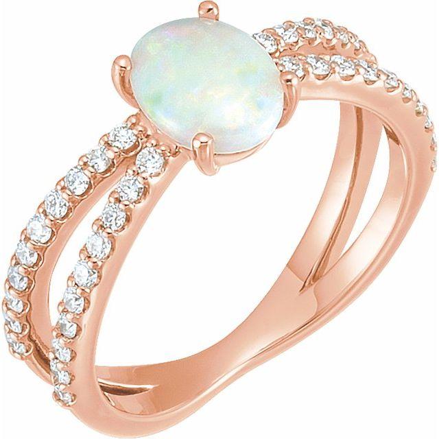 14K Rose Opal & 1/3 CTW Diamond Ring