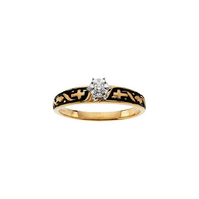 14K Yellow/White .03 CT Diamond Solitaire Cross Engagement Ring
