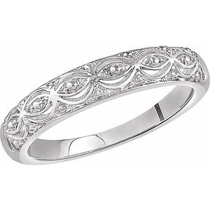 14K White Sculptural Band