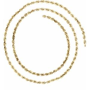 14K Yellow 2.5 mm Diamond Cut Rope Chain by the Inch