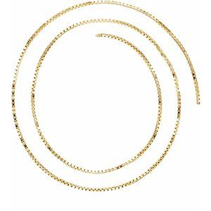 14K Yellow 1 mm Solid Box Chain by the Inch