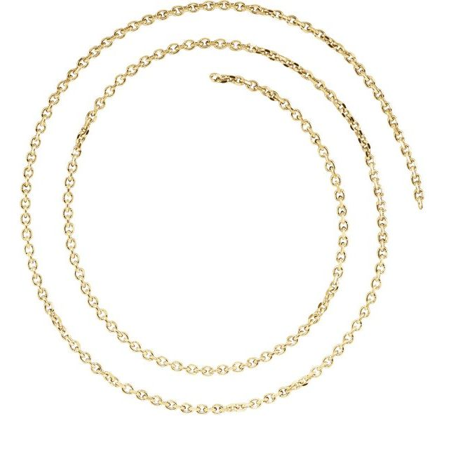 14K Yellow 1.75 mm Solid Diamond-Cut Cable Chain by the Inch