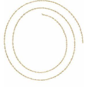 18K Yellow 1 mm Solid Rope Chain by the Inch
