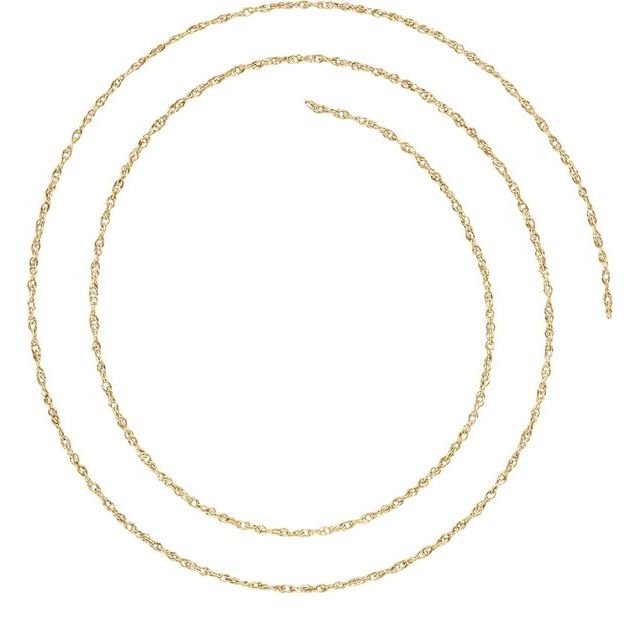 10K Yellow 1 mm Solid Rope Chain by the Inch
