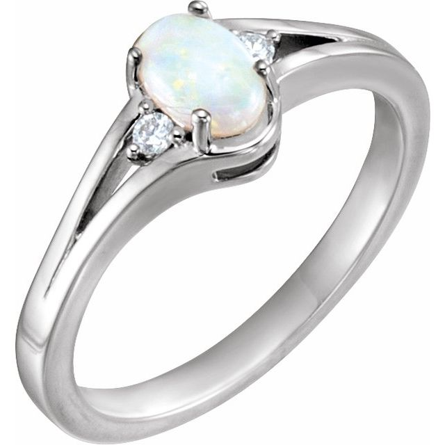 Sterling Silver Opal & .04 CTW Diamond Ring