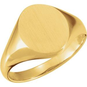 18K Yellow 11x9.5 mm Oval Signet Ring