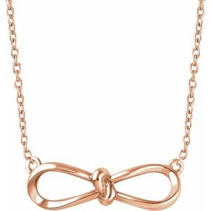 "14K Rose Bow 18"" Necklace"