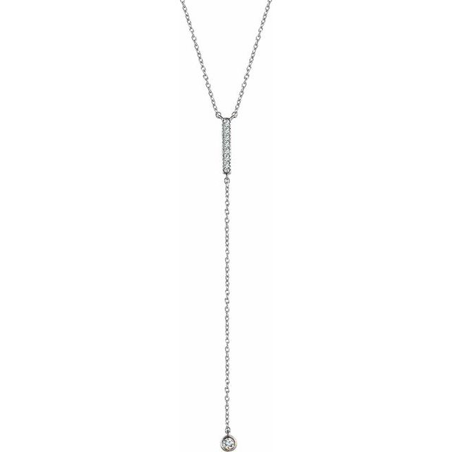 14K White 1/8 CTW Diamond Bar Y 16-18