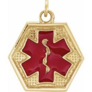 14K Yellow & Red Enamel 15x13.5 mm Engravable Medical Identification Pendant