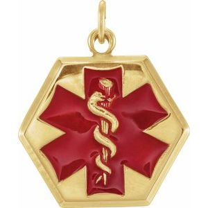 14K Yellow & Red Enamel 24.5x20 mm Engravable Medical Idenfication Pendant