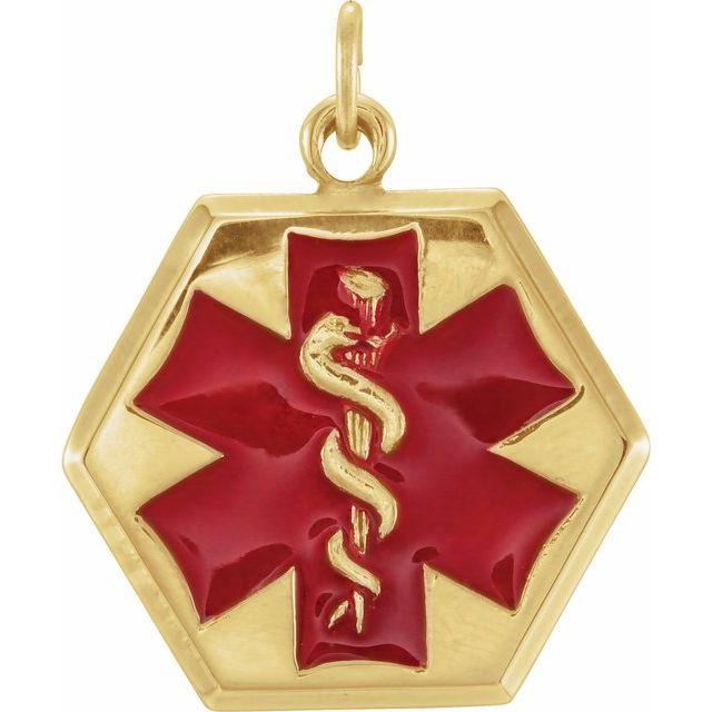14K Yellow & Red Enamel 24.5x20 mm Engravable Medical Idenfication Pendant