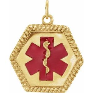14K Yellow & Red Enamel 25x20.5 mm Engravable Medical Identification Pendant