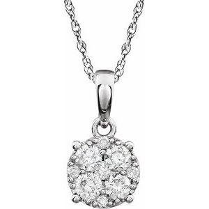 "14K White 3/8 CTW Diamond Cluster 18"" Necklace"