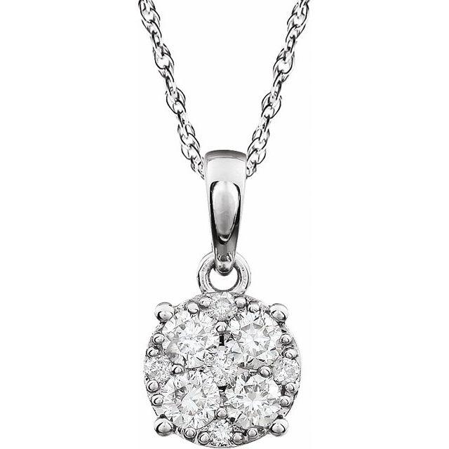 14K White 1/4 CTW Diamond Cluster 18
