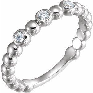 14K White 1/8 CTW Diamond Beaded Ring