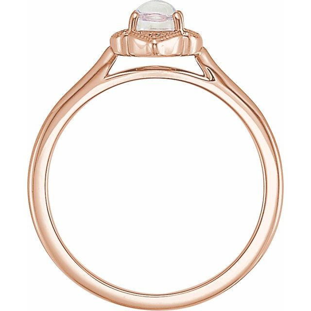 14K Rose Rainbow Moonstone & .03 CTW Diamond Clover Cabochon Ring