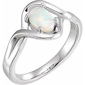 Sterling Silver Opal Freeform Ring
