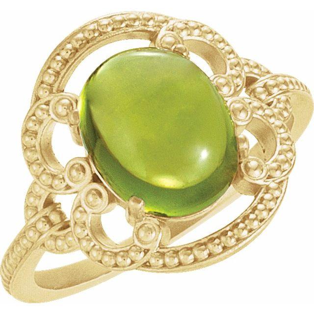 14K Yellow Peridot Granulated Design Ring