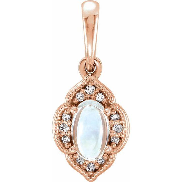 14K Rose Rainbow Moonstone & .03 CTW Diamond Clover Pendant