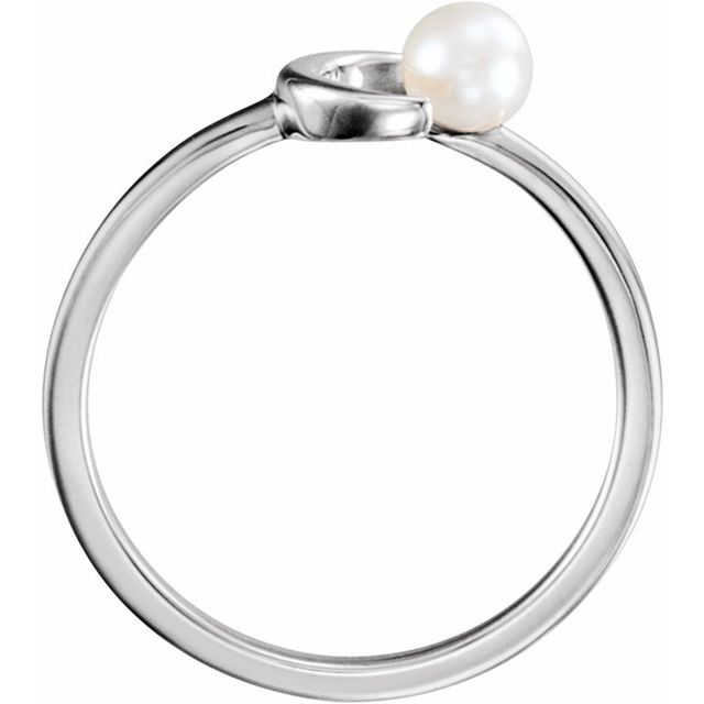 14K White 4 mm White Freshwater Pearl Crescent Ring