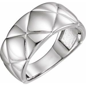 14K White Quilted Ring
