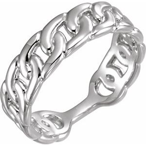 14K White Interlocking Stackable Link Ring