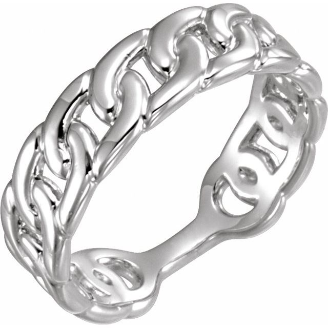 14K White Interlocking Stackable Link Ring