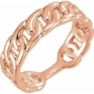 14K Rose Interlocking Stackable Link Ring