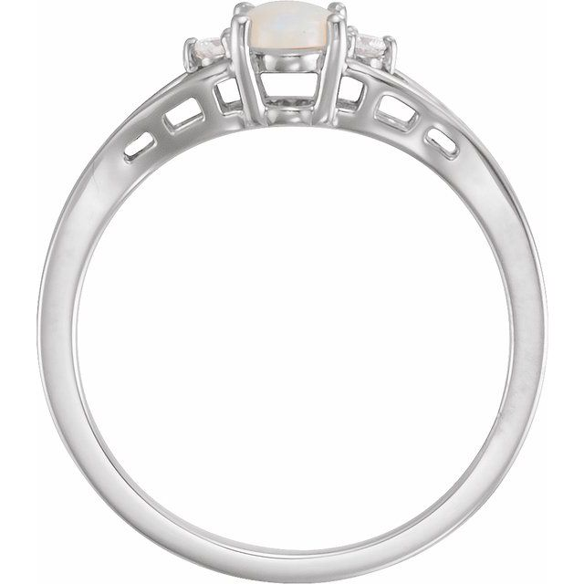 14K White Opal & .04 CTW Diamond Ring