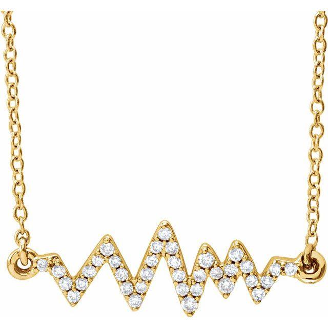 14K Yellow 1/6 CTW Diamond Heartbeat 16-18