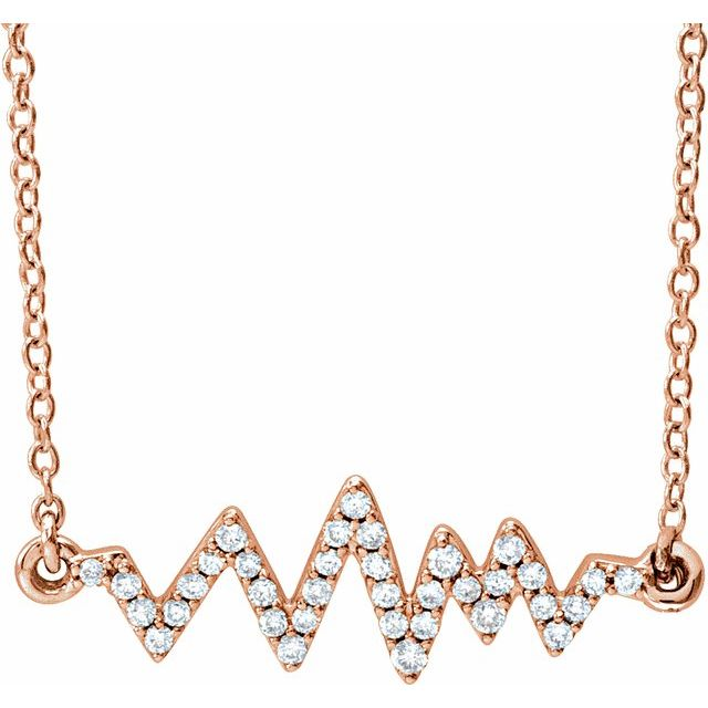 14K Rose 1/6 CTW Natural Diamond Heartbeat 16-18
