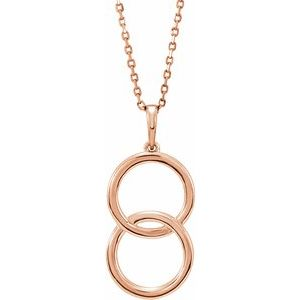 """14K Rose Interlocking Circle 18"""" Necklace"""