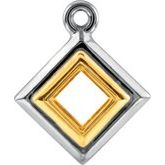 Square Bezel-Set Two-Tone Dangle