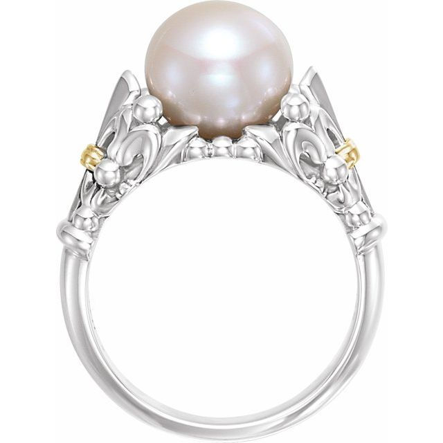 Sterling Silver & 14K Yellow Fleur-de-lis Pearl Ring