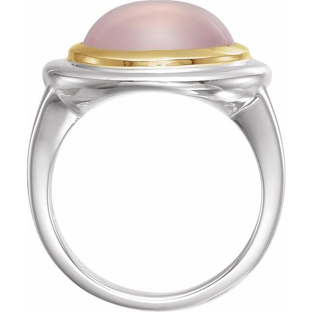 Sterling Silver & 14K Yellow Rose Quartz Ring