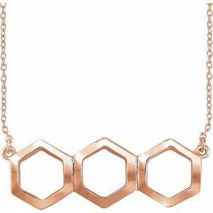 "14K Rose Geometric 16-18"" Necklace"