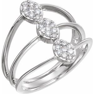 14K White 1/3 CTW Diamond Cluster Ring