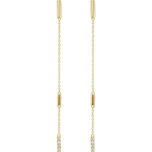 14K Yellow 1/10 CTW Diamond Chain Earrings