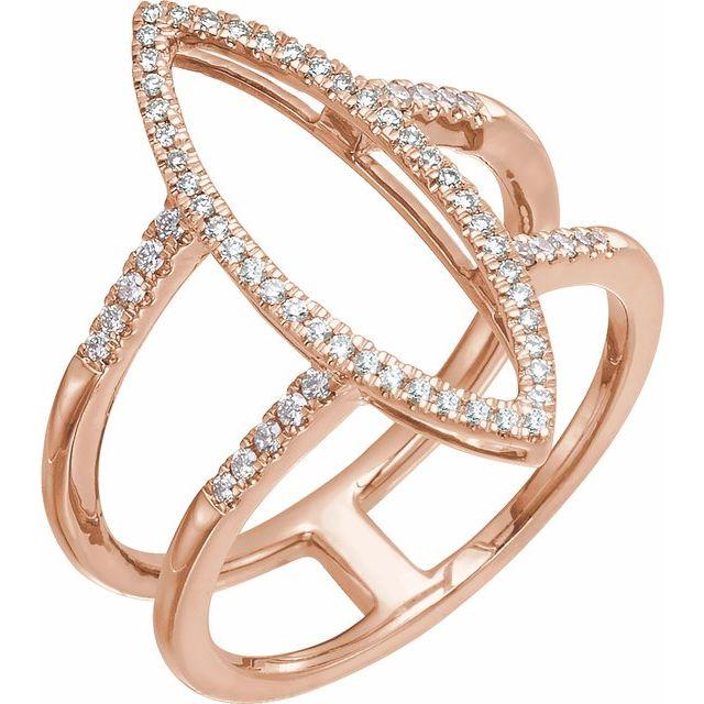 14K Rose 1/4 CTW Diamond Geometric Ring