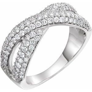 14K White 1 CTW Diamond Criss-Cross Ring
