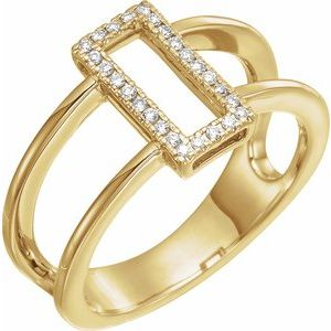 14K Yellow .10 CTW Rectangle Geometric Diamond Ring