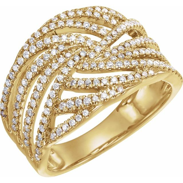 14K Yellow 1/2 CTW Diamond Accented Criss-Cross Ring